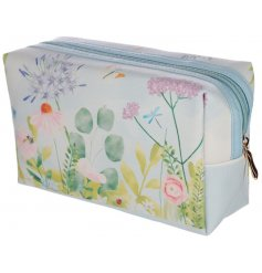 A pretty pastel coloured wash bag with a botanical gardens design.