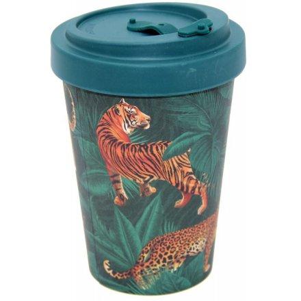 Jungle Cat Spots & Stripes Bamboo Travel Mug 400ml