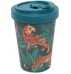 Travel mug made from eco friendly bamboo, decorated with a jungle cat theme. Approx size 14 x 9.5 cm