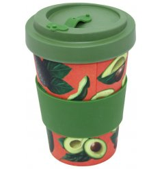 Avocado print travel mug made from eco friendly bamboo measures approx 9.5 x 14 cm