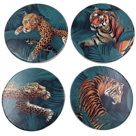 Jungle Cat Spots & Stripes Set of 4 Coasters, 10cm