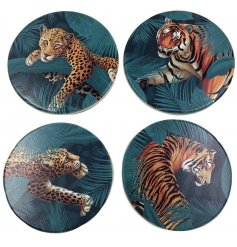 Giftboxed set of 4 jungle cat themed coasters, approx 10 cm across
