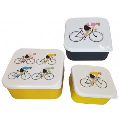 Cycling themed set of BPA-free plastic lunchboxes in 3 sizes