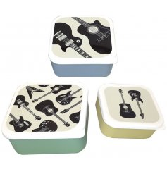 Nesting lunchboxes made from BPA free plastic in 3 colours, with white lids with guitar silhouette embellishment