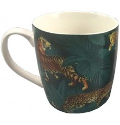 Bone china mug decorated with jungle cat design, measures approx 8 x 12 x 10 cm tall