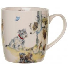 Jan Pashley design bone china mug depicting dogs in a farmyard. Approx  size 12 x 8.5 x 9 cm high