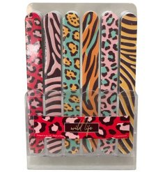 Brightly coloured nail file with animal print designs - zebra, tiger, leopard or jaguar pattern. Approx 18 x 1.5 cm