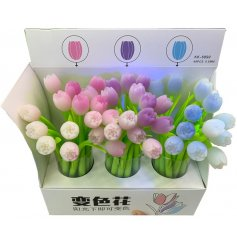 A mix of fun floral tulip pens with UV colour changing feature.