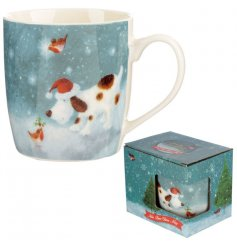 A beautifully illustrated Christmas mug featuring a dog and robin.