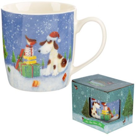 Jan Pashley Christmas Mug, Present Stack