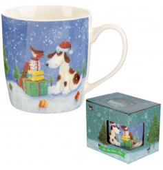 A beautiful Christmas mug featuring a dog and robin with a huge stack of presents.
