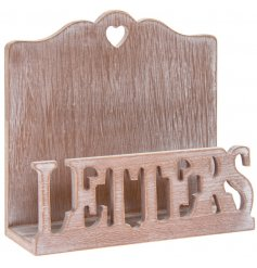 Attractive wooden letter rack with limewashed effect, measures approx 16 x 6 x 15 cm
