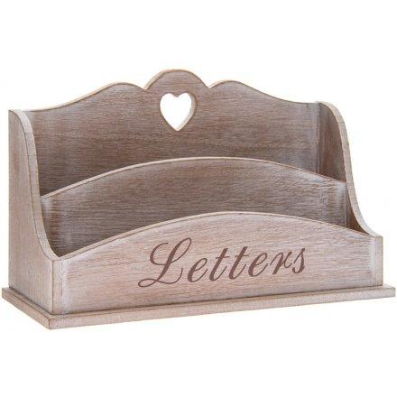 26 cm Limewashed Natural Wood Letter Rack