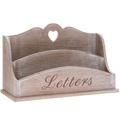 Charming limewashed wooden two compartment letter rack, approx size 26 x 8 x 15 cm