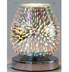 Stunning Goblet-shaped lamp with built in oil burner and starburst design. Approx  size 12 x 16 cm