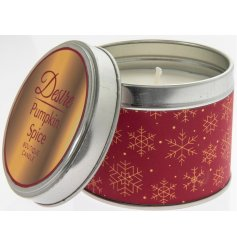 Delightful seasonal candle in red and gold tin, scented with trendy Pumpkin Spice scent. Measures approx 8 x 7 cm