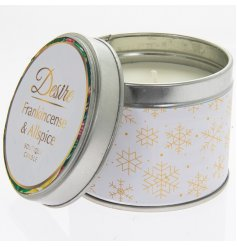 Festive Frankincense & Allspice candle in winter white and gold tin. Measures approx 8 x 7 cm