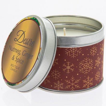 Nutmeg, Ginger & Spice Desire Festive Candle Tin