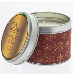 Festive Nutmeg, Ginger & Spice candle in autumnal red and gold tin. Measures approx 8 x 7 cm