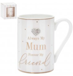 Stylish ceramic mug with bling heart decoration, Mum / friendship theme. Approx size 7 x 11 cm