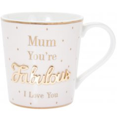 Delightful ceramic mug from the Mad Dots range with a Fabulous Mum slogan. Approx size 9 x 7 cm