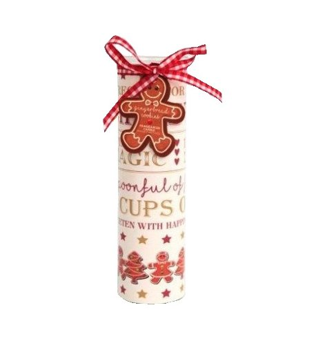 A gingerbread cookies scented candle set within a glass tube. Complete with a cookies recipe design and red gingham bow.