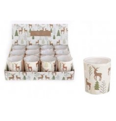 Glass t-light votives with a contemporary woodland wrap featuring forrest trees and reindeer.