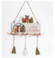 Merry Christmas! A charming and wonderfully detailed wooden Christmas sign with trees and reindeer.