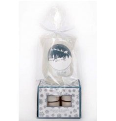 A beautifully packaged glass hurricane candle holder with a pack of 8 t-light candles.