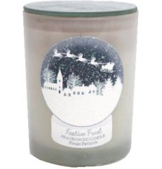 A beautifully scented candle set within a frosted glass pot. Complete with snow globe decoration.