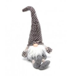 A plush woodland gonk decoration with a pointed check hat and gloves.