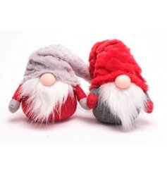 A mix of 2 grey and red sitting gonk decorations with soft pointed hats and faux fur beards.