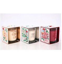 An assortment of beautifully scented Christmas tipple candle pots with attractive seasonal packaging