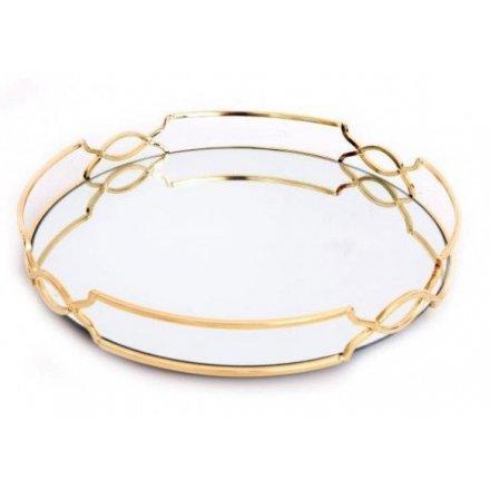 29cm Ornate Gold Rim Mirrored Tray Round