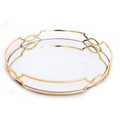 Measuring approx 29 x 4 cm, this elegantly decorated round mirrored tray has a beautiful art deco style gold rim