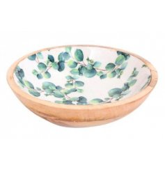 Solid wooden bowl, decorated with Eucalyptus print. Large size, approx 30 cm