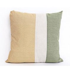 A stylish panel cushion with soft green and yellow colours. An on trend pallet this season.