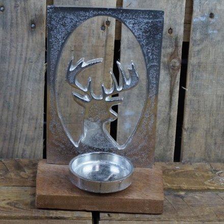 Aluminium Stag Head Silhouette Tealight Holder 26.5 cm