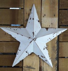 Distressed metal barn star painted white, approx size 35 x 36 x 5 cm