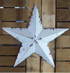 Distressed metal barn star painted white, approx size 43 x 45 x 6 cm