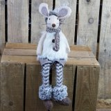 Dangly leg felt mouse ornament wearing cream faux fur gilet and knitted stockings - measures approx 47 cm tall