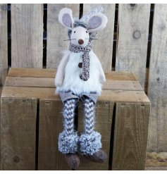 Felt mouse sitting ornament with dangly legs dressed in knit stockings and cream faux fur gilet - approx size 47 cm tall