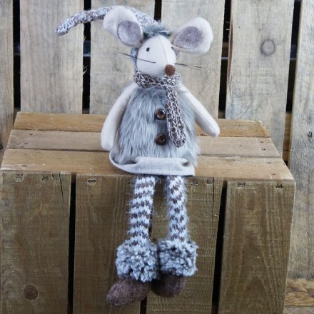 47 cm Dangly Leg Mouse Wearing Faux Fur Waistcoat - Brown