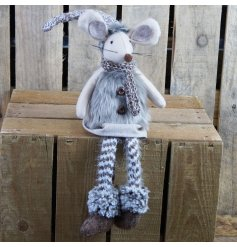 Dangly leg felt mouse ornament wearing brown faux fur gilet and knitted stockings - measures approx 47 cm tall