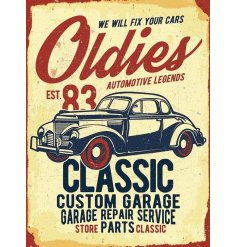 A metal sign with a retro inspired car print