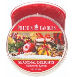 Bring a subtle hint of festive classics to your home this Christmas with this luxuriously scented candle tin