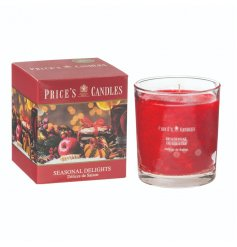 A beautifully scented seasonal delights candle with colour gift box.