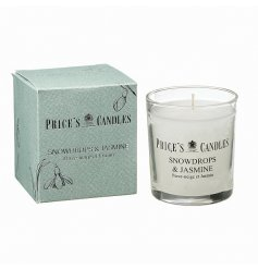 A luxury scented candle with a blended aroma of crisp white snowdrops and silky sweet jasmine.