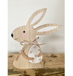 Delightful Easter Bunny ornament, crafted from natural wood, with two tone string bow.  Approx size 18 cm tall.