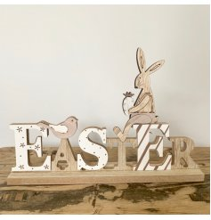 Charming seasonal Easter sign made from wood, decorated with a bunny and a songbird. Measures approx 23 cm long.